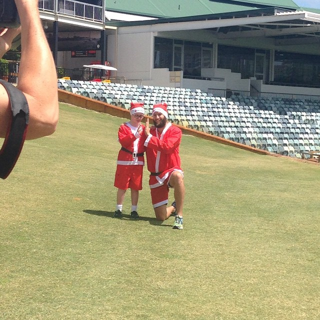 Behind the scenes of a photo call today for @variety_wa with the very cute Lucas and @andrew_tye_68 of the @perthscorchers ahead of the #santafunrun on December 7 at Central TAFE, Oxford Street